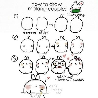 How To Draw Molang Couple Art Pinterest Cute Doodles