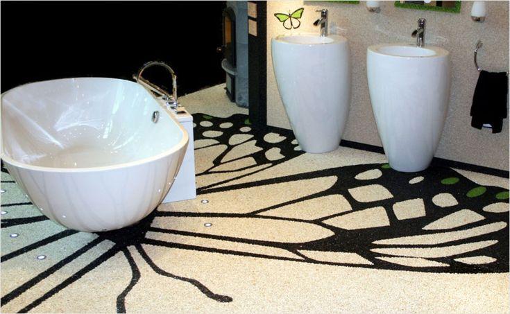 Steinteppich statt Badfliesen! Hier kann man kreativen Badideen freien Lauf lassen.