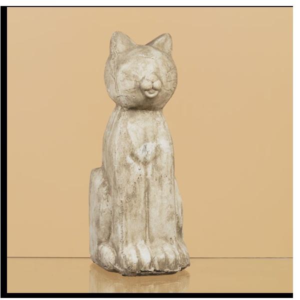 5x5x15 stone look ceramic cat statue    $39.49 Oddity Store
