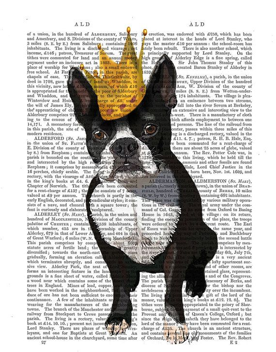 Boston Terrier And Crown Art Print dictionary page book art Dog Art Dog Print wall art wall decor, dog king, pug via Etsy