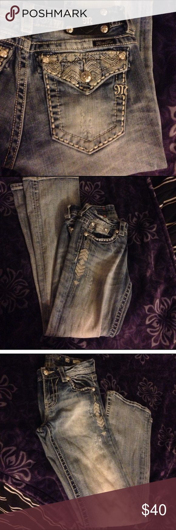 Miss Mes Boot cut Miss ME's in great condition! Not missing an jewels or buttons. Just grew out of them. Light wash. Thick stitching with great detail. Smoke free home. Miss Me Jeans Boot Cut