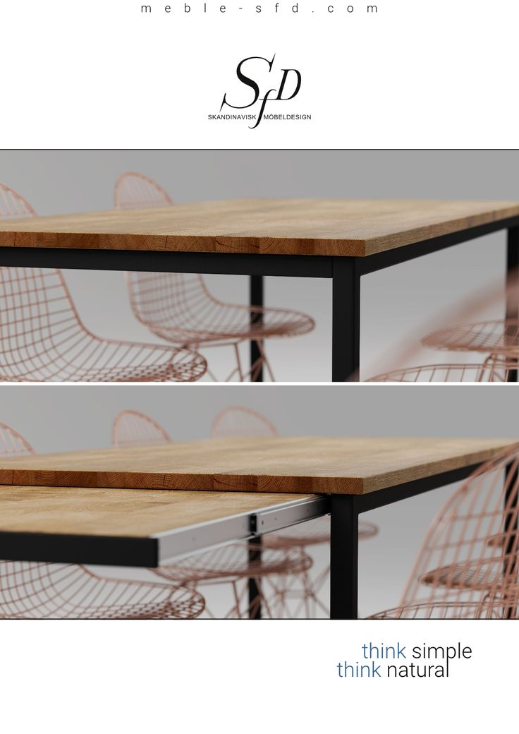 The extendable table Basic VIS has two easily accessible pull-out leaves under the table top.
