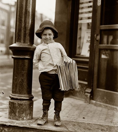 May 9, 1910 - 6 year-old newsie, St Louis, MO, USA via Shorpy.com