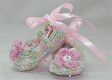 Baby Shoes, 0 to 6 months, Crochet, Ballet Shoes