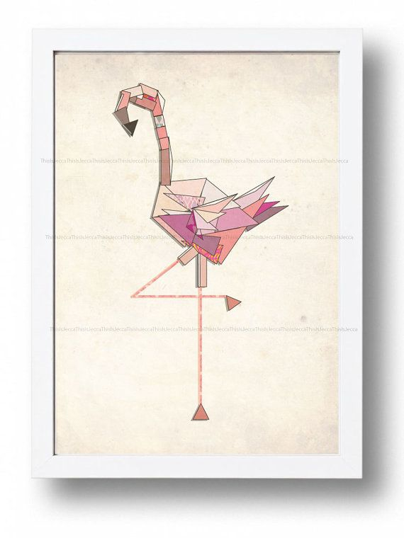 Flamingo illustration wall print nursery baby print by ThisIsJecca, $8.33