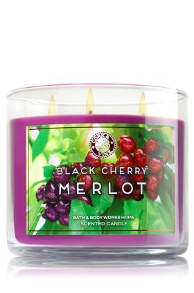 "Black Cherry Merlot - 3-Wick Candle - Bath & Body Works - The Perfect 3-Wick Candle! Made using the highest concentration of fragrance oils, an exclusive blend of vegetable wax and wicks that won't burn out, our candles melt consistently & evenly, radiating enough fragrance to fill an entire room. Burns approximately 25 - 45 hours and measures 4"" wide x 3 1/2"" tall."