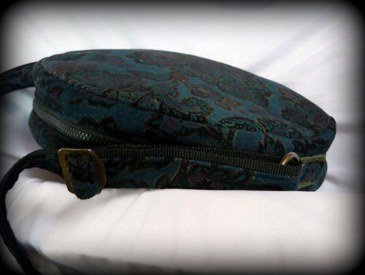 Handmade by Judy Majoros - Blue damask velvet round bag. Shoulder bag-crossbody bag. Recycled bag