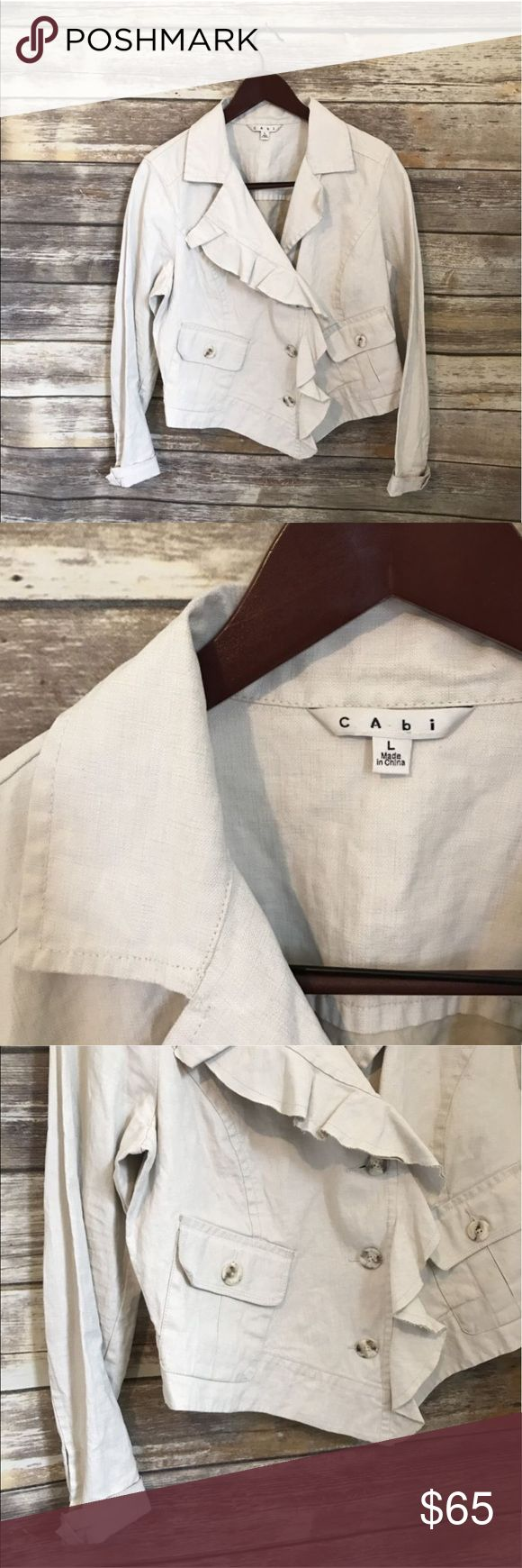 "CAbi Moto Jacket New without tags. Never worn. Size large. Bought for $125.  100% Waxed linen 3 buttons down the front of blazer, 2 buttons on each sleeve and two across the back.  Asymmetrical front with ruffle detail. Two button front pockets.  Measurements 20"" Length (Mid-back neckline to hem) 21.5"" Armpit to armpit when buttoned and laying flat. CAbi Jackets & Coats"