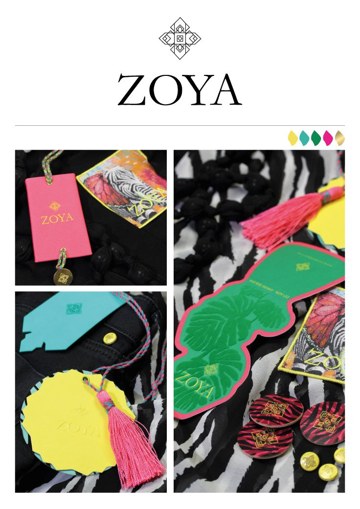 Nilorn Concept – Zoya is young womenswear with floral patterns and bright colours.  They are a celebration of being feminine, modern and the epitome of exclusive elegance. #fashion #branding #swingtickets #labels #wovenlabels #buttons #designinspiration #packaging #design #creative #womenswear #flocking #colourful #zebra #animalprint http://nilorn.co.uk