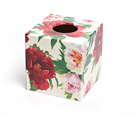 Beautiful Peony Tissue Box from Crackpots Tissue boxes and Bins - hand decoupaged in our home for yours <3