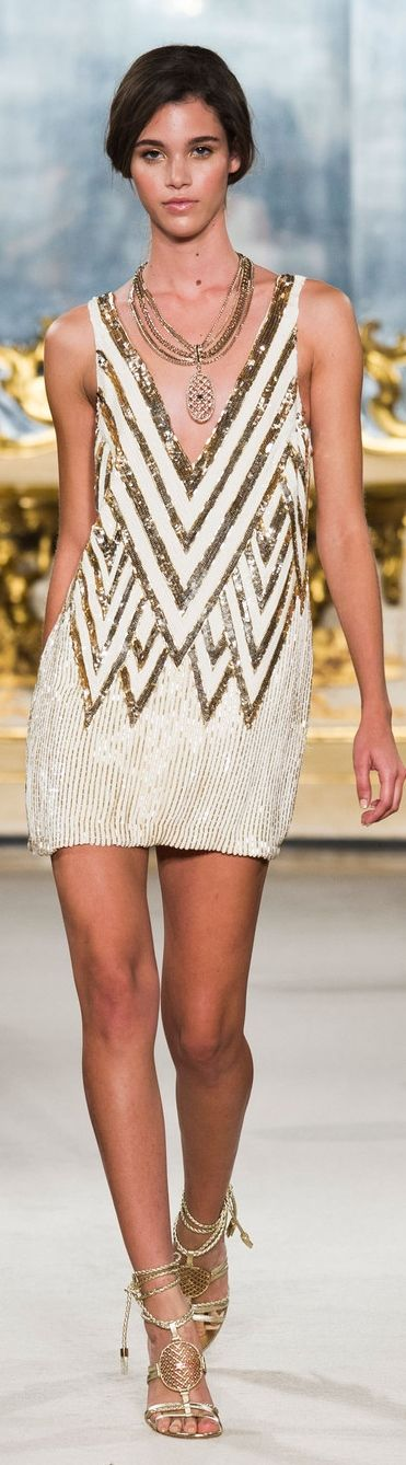 From the Runway - dressy style - party style - golden and white sleeveless deep v-neck sequined mini dress - Elisabetta Franchi SS 2015