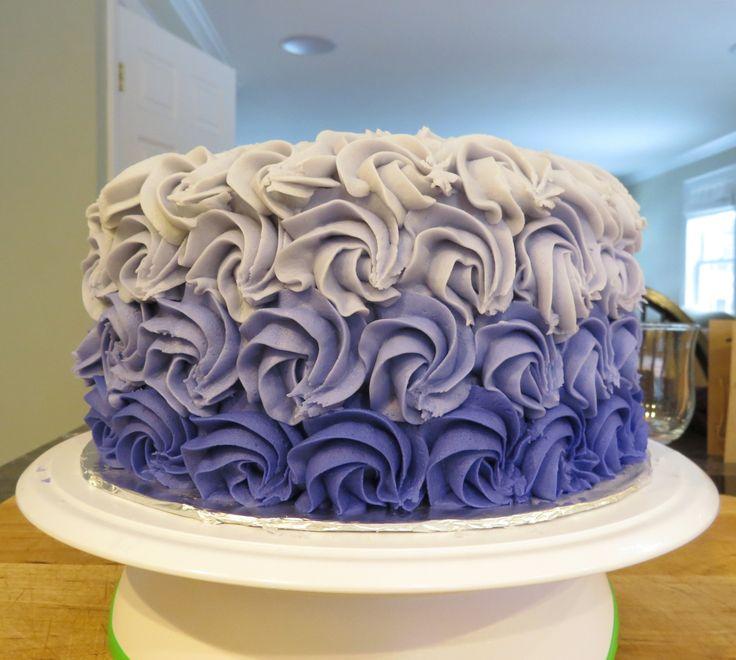 Purple - Rosettes - Ombre - Simple cake decorating