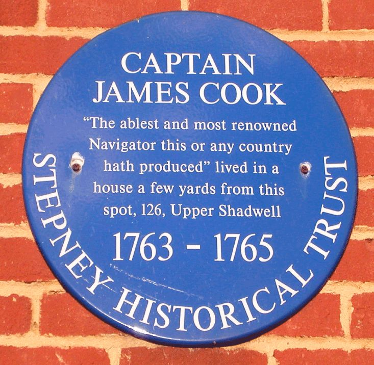 Blue plaque for Captain James Cook located on the wall at 326 The Highway in Shadwell, England. Cook made detailed maps of Newfoundland prior to making three voyages to the Pacific Ocean, during which he achieved the first European contact with the eastern coastline of Australia and the Hawaiian Islands, and the first recorded circumnavigation of New Zealand.