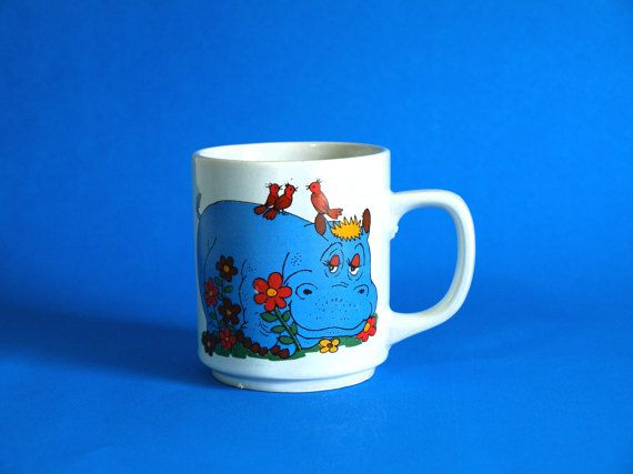 Happy Blue Hippo Mug  Retro Vintage Fantasia Hungry by FunkyKoala