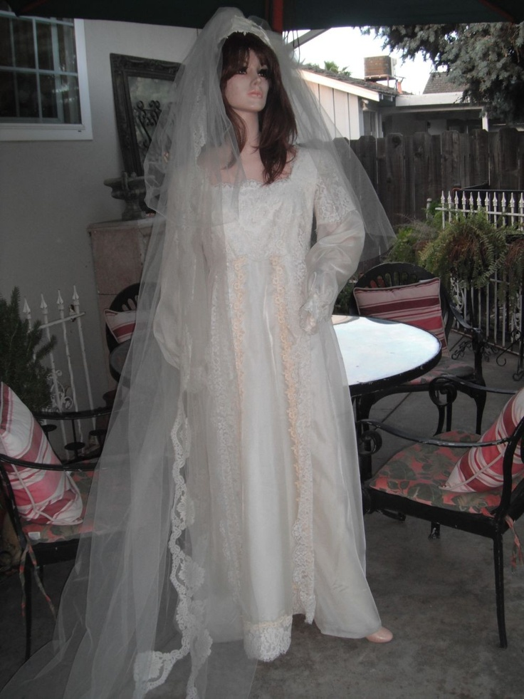 1960s wedding gowns | 1960s Wedding Gown w/Matching Veil by ...