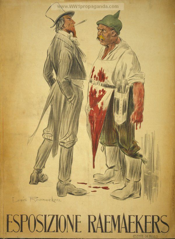 Poster shows a cocky Uncle Sam, wearing soldier's boots and smoking a cigarette, facing a German butcher wearing a blood-soaked apron and a soldier's helmet. From: Examples of Propaganda from WW1 | Italian WW1 Propaganda Posters