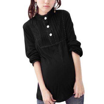 Allegra K Motherhood Lace Decor Stand Collar Long Sleeve Zip Breast Black Blouse M Allegra K. $13.52