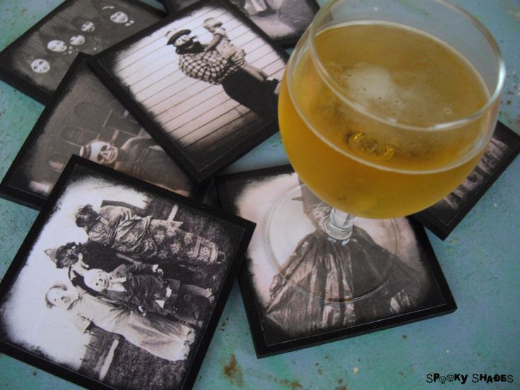Creepy Hallowen Costumes coasters - set of 8 wooden coasters - halloween decor, dark decor, victorian, antique pictures, sepia, old pictures by SpookyShades on Etsy https://www.etsy.com/listing/164807417/creepy-hallowen-costumes-coasters-set-of