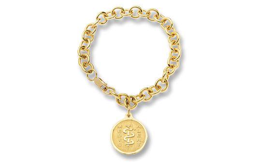 Gold-Filled Charm Cable-Link Bracelet - Small Emblem   Australia MedicAlert Foundation  #medicalert #medical_ID #medical_bracelet #safety #charm