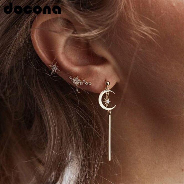 Docona gold color crystal star moon studs earrings set metal pendant stud earrin…   – Piercings