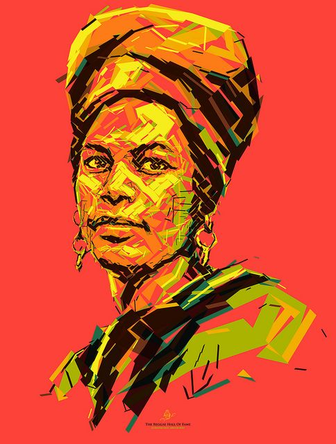 Judy Mowatt: Black Woman Portrait of Judy Mowatt for the Reggae Hall of Fame foundation. This poster is donated to raise funds to support the Alpha Boys School in Jamaica. Created by Charis Tsevis. #Jamaica #Music #Reggae #Portrait #Poster Photomosaic #Mosaic #Illustration #Arts