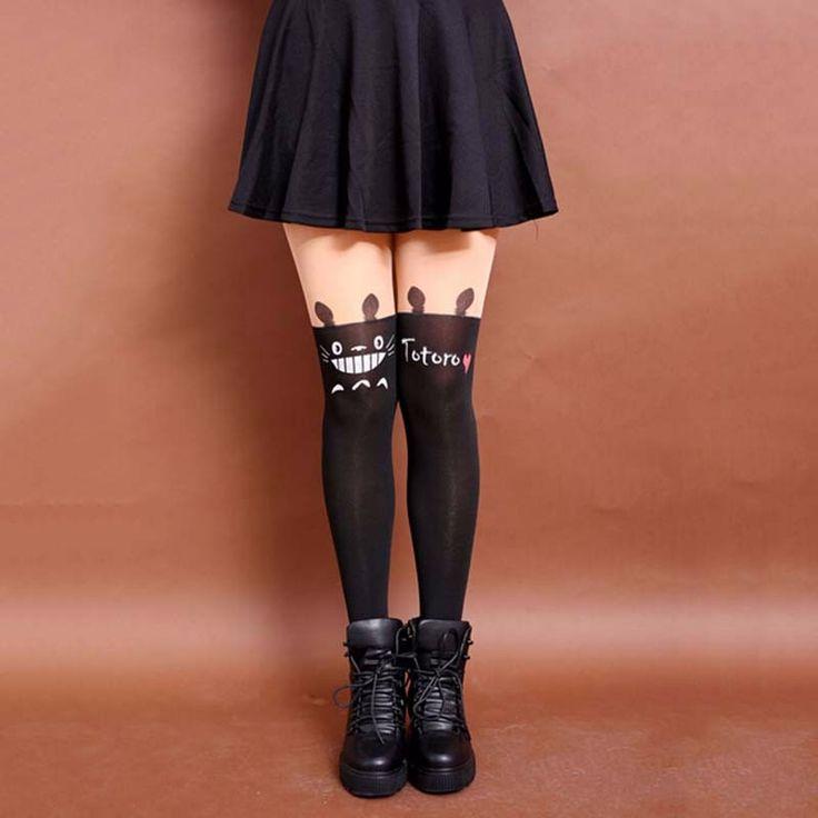Latest Fashion Women Nylon Stocking Cute Cat Totoro Knee High Tights Tattoo Stockings Girls Sexy Pantyhose #Affiliate