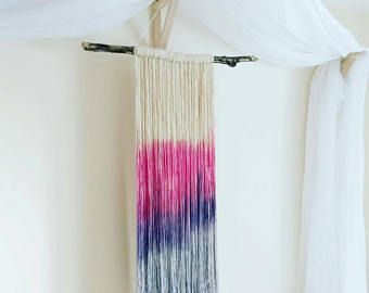 Pink homemade wall hanging decoration. Boho natural fibre and drift wood. Large home decor, statement peice. Custom orders available