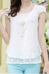 Casual Scoop Neck Lace Spliced Short Sleeve T-Shirt For Women