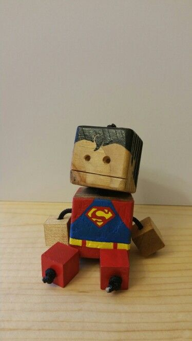 Mini superman - wood toy, natural wood, wood robot, DIY toy #woodtoy