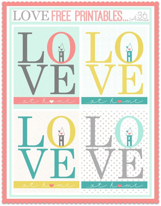 Love at HOME Free Printables… Four colors to choose from!