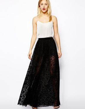 Image 1 of ASOS Wide Leg Pants In Pleated Lace 70.37