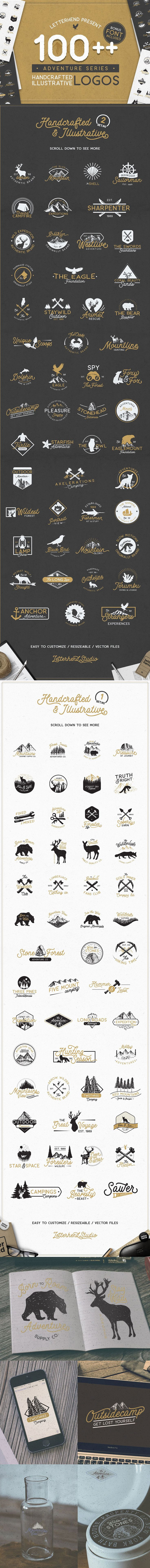 #Adventure #Logo Bundle : This awesome logo packages guaranteed will give satisfaction especially to you who loves illustrative #logos with rough and #vintage feel. ( #retro #photographer #blogger #branding #business #freebies #vector #logodesign #freedownload #handcrafted #fonts #travelling #mountain )