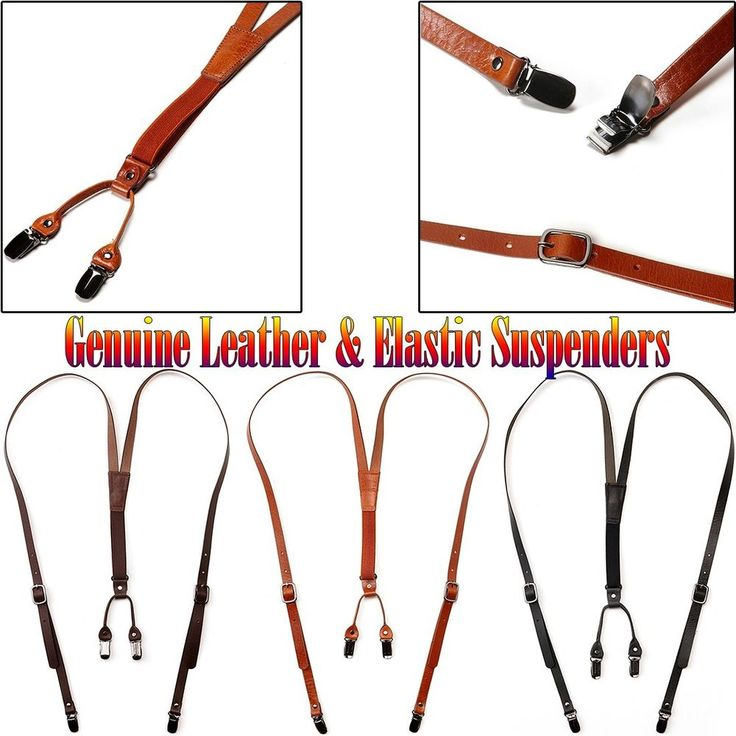 New Mens Womens Leather Elastic Skinny Suspenders Suit Fashion Adjustable Braces #followthehappiness