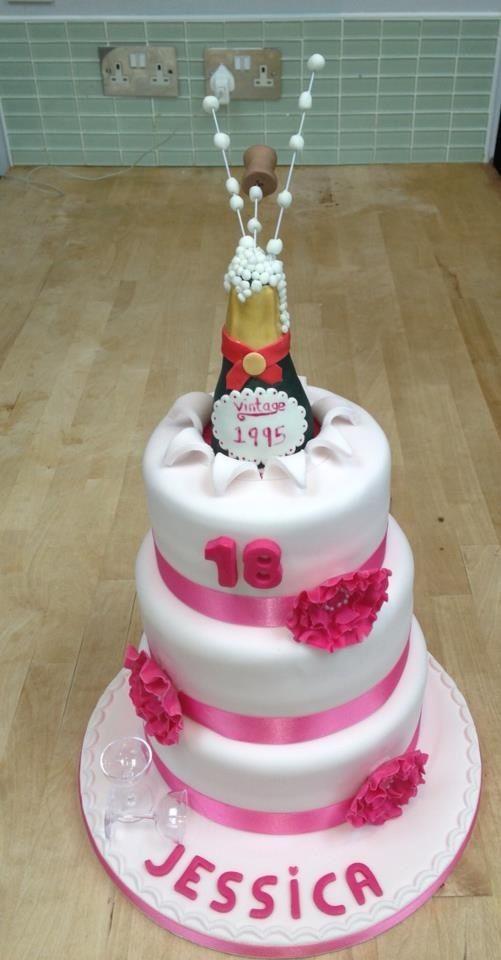 3 Tier 18th Birthday Cake For Girls Champagne Bottle