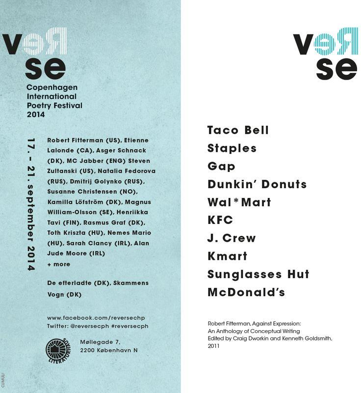Flyer mit einem Eindruck von Poesie auf der einen und Informationen zum Festival auf der anderen Seite..