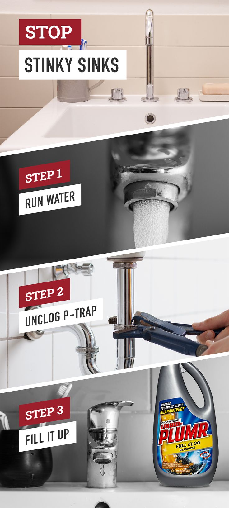 Nobody wants their kitchen or bathroom sink smelling like the sewer. Follow these simple steps to help prevent your drains from smelling up your home. To clear a clog and leave a pleasant scent behind, use Liquid-Plumr® Full Clog Destroyer™.