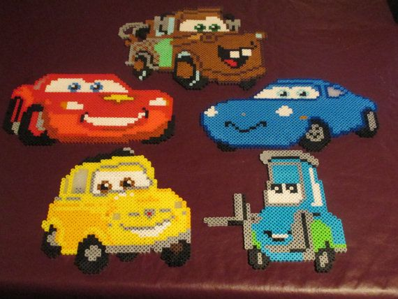 Large Cars magnet, hanging ornament, or wall décor set, $60 on https://www.etsy.com/listing/156673476/cars-lightning-mcqueen-and-friends