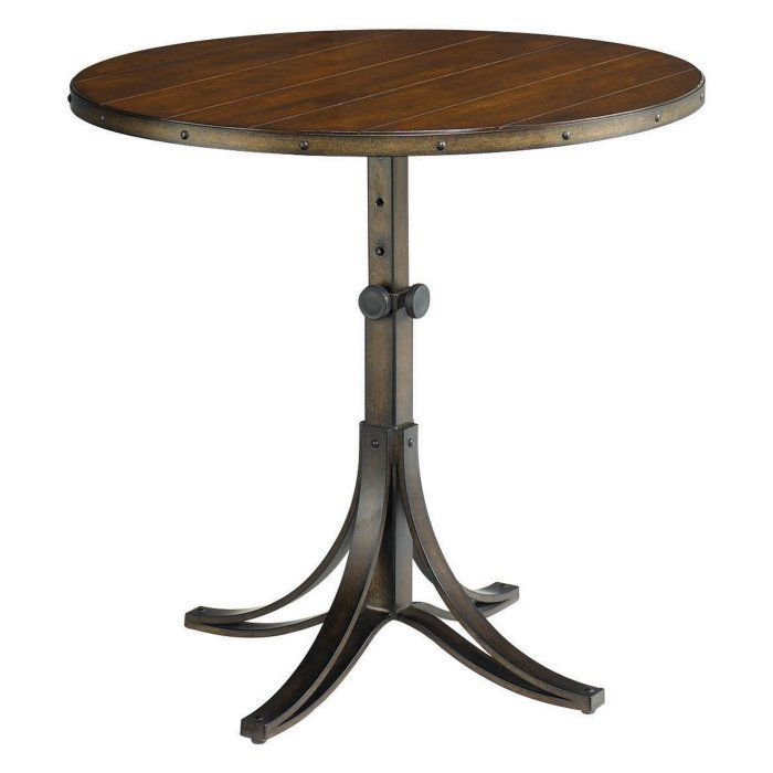 Hammary Mercantile Round Adjustable Accent Table Wood Accent Table End Tables Accent Table
