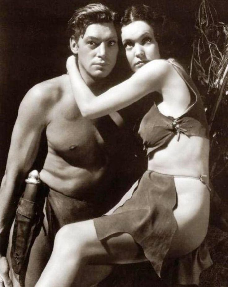 Portrait of Maureen O'Sullivan and Johnny Weissmuller in Tarzan, the Ape Man directed by W.S. Van Dyke, 1932.
