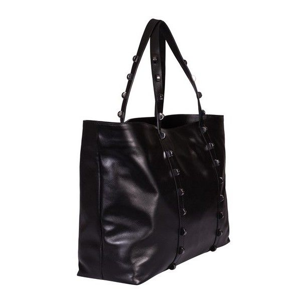 Borbonese Large Horizzontal Shopping Bag ($675) ❤ liked on Polyvore featuring bags, handbags, black, leather purses, leather shopper handbags, embellished purses, shopper handbags and zip purse