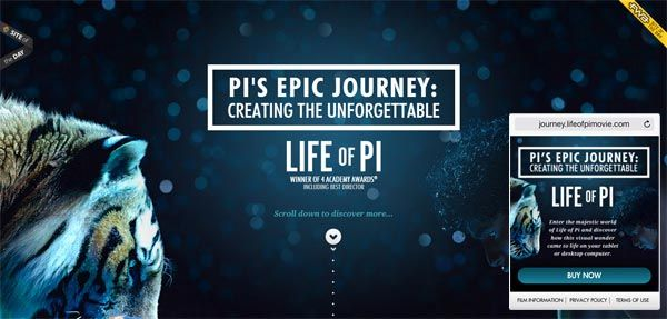 Life of Pi - movie - #parallax #animated-page #stats #counter #loading