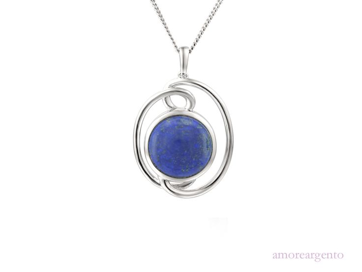 """Star Catcher Necklace - This stunning, swirly design has a round beautiful blue cabochon lapis overflowing with vibrant colour. Comes with a 16"""" to 18"""" adjustable silver curb chain. We are passionate about our gemstones and this lapis with its enchanting and striking elegance will brighten up your outfits adding colour and glamour - http://goo.gl/w1Px33"""