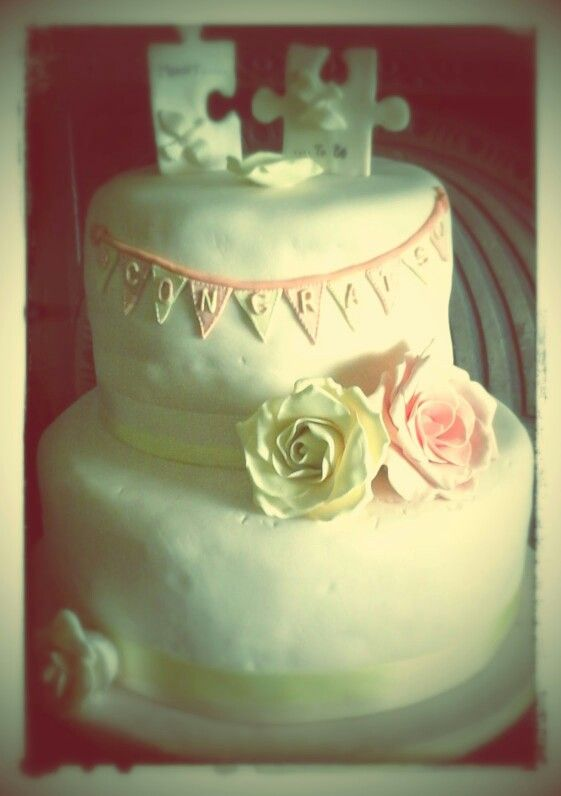 Chocolate biscuit cake, lemon drizzle cake with handmade sugar roses & sugarpaste jigsaw pieces