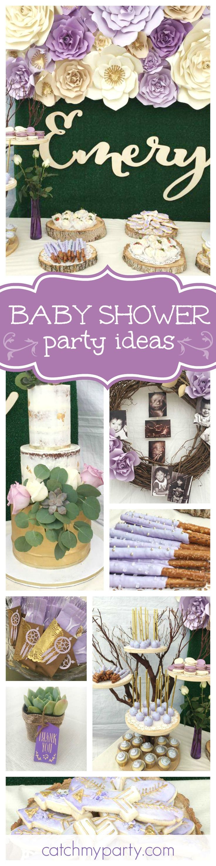 You'll love this pretty rustic boho baby shower! The backdrop is gorgeous & the desserts are so beautifully presented! See more party ideas and share yours at CatchMyParty.com