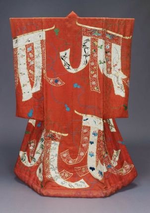 Wedding kimono (uchikake)  Edo period, 19th century, Long-sleeved outer robe (uchikake) for wedding of red silk damask ground with woven pattern of interlacing lines and sprays of flowers and surface design of curtains (kichô) made from lengths of red and white fabric, on which are embroidered flowers, tortoise, cranes and butterflies with pink, blue, green, yellow, black, gray and brown silk and gold thread.Embroidered Flowers, Red Silk, Silk Damasks, Blue Green, 19Th Century, Edo Periodic, Japanese Kimonos, Gold Thread, Kimonos Uchikake