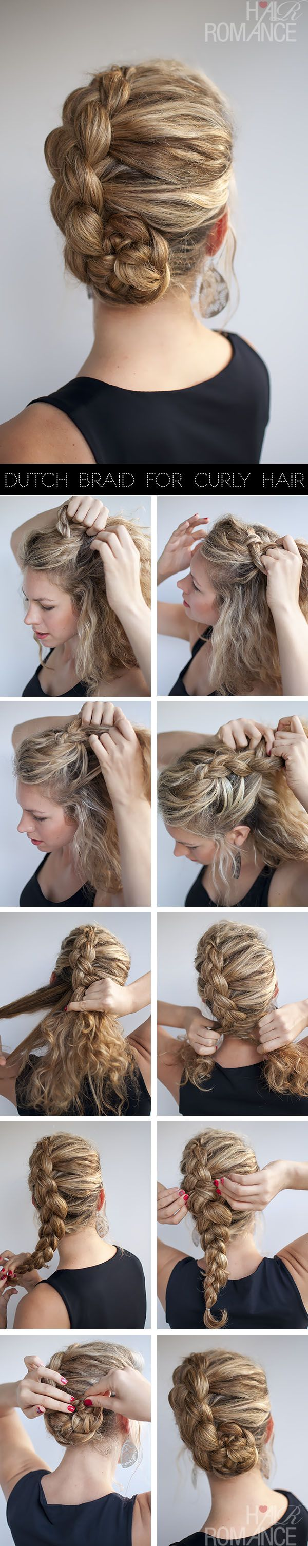 Dutch Braided updo tutorial for curly hair
