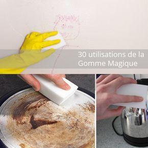 30 utilisations de la gomme magique... pour nettoyer sans aucun produit chimique.... vous avez besoin de juste un peu d'eau, c'est tout ! Par exemple, je l'utilise pour : 1 mon canapé en cuir blanc, 2 les poignées et les traces de doigts sur les portes, 3 les interrupteurs 4 les plinthes 5 la vitre de douche, 6 la faïence de la salle de bain et de la cuisine, 7 la robinetterie