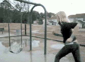 I'll just run, jump and land on this swing...