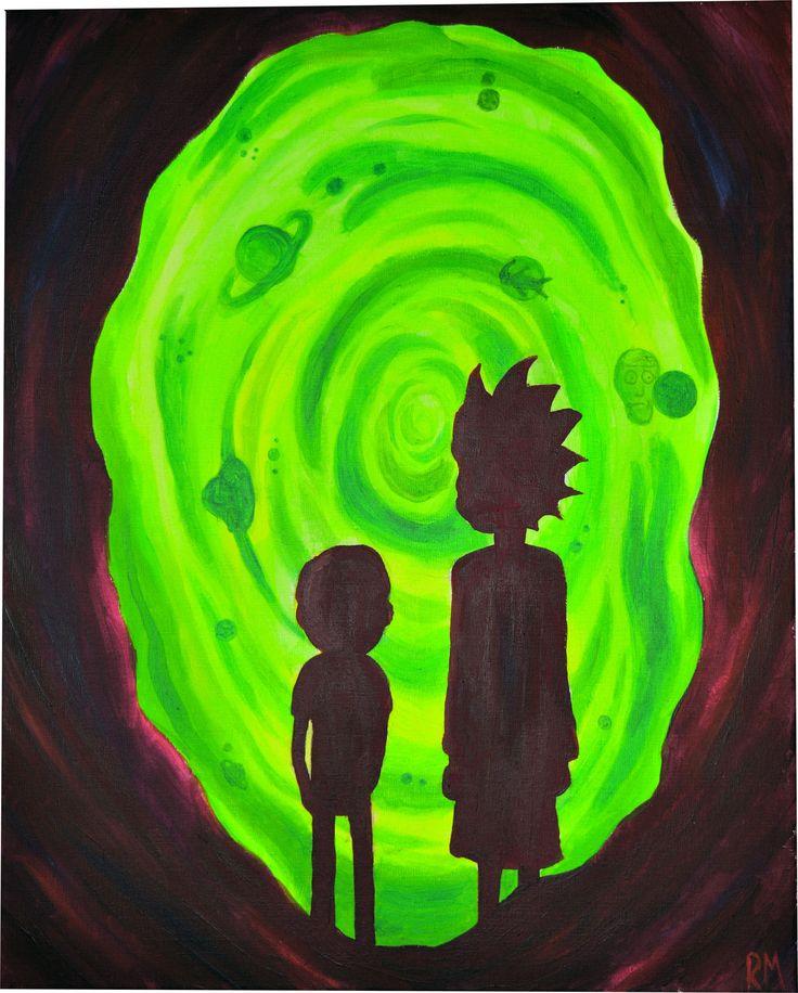 """Rick and morty ft. portal acrylic 16"""" x 20"""""""