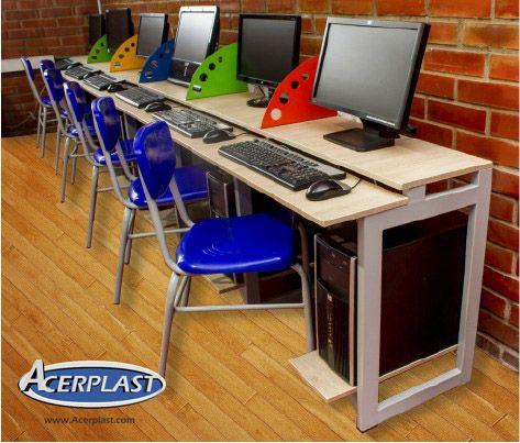 Mesa Modular para salas de sistemas, diseñada para el Colegio Bilingue San José Campestre - Palmira #Mesas #Sillas #Escritorios #Salones #MueblesEscolares